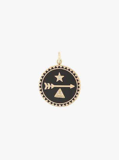 18K yellow gold Dream petite diamond medallion charm
