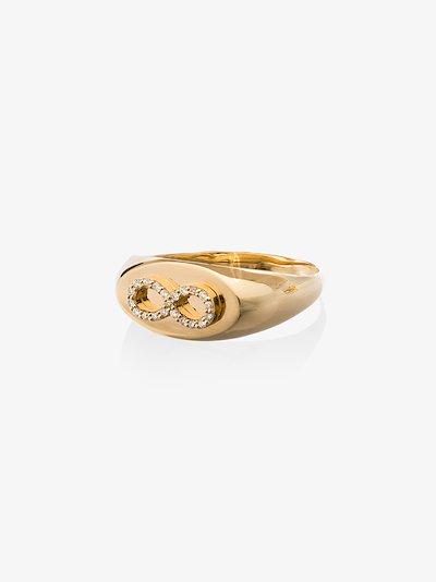 18K yellow gold infinity baby diamond signet ring