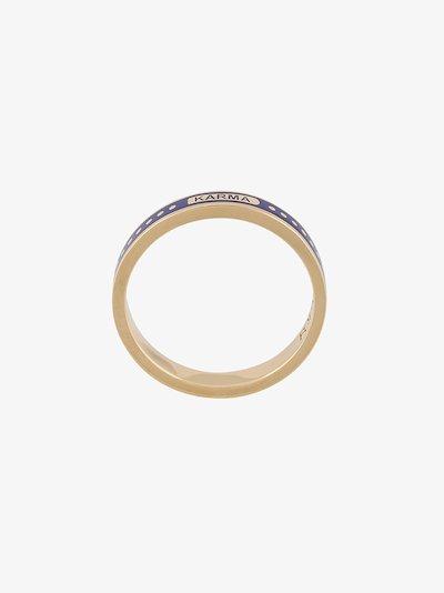 18K yellow gold Karma thin band ring