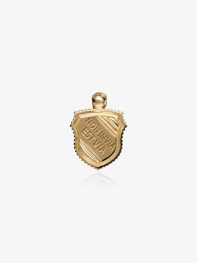 18K yellow gold Non Invia Est Via baby crest charm