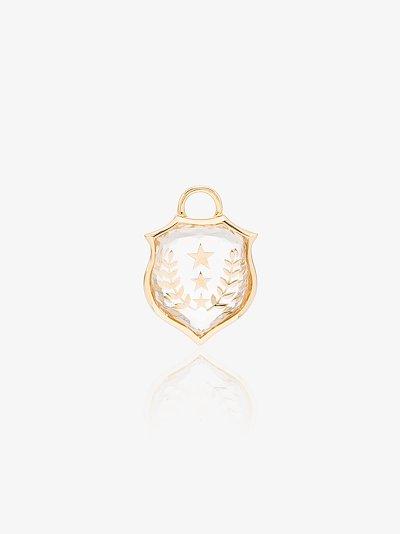 18K yellow gold Per Aspera Ad Astra small quartz charm