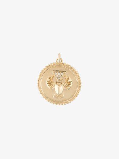 18K yellow gold Protection baby diamond medallion charm