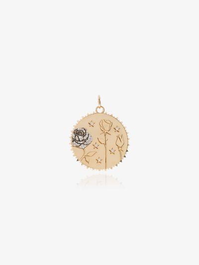 18K yellow gold Rose of the World large diamond medallion charm