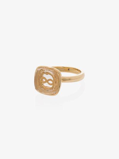 18K yellow gold sealed gemstone snake ring