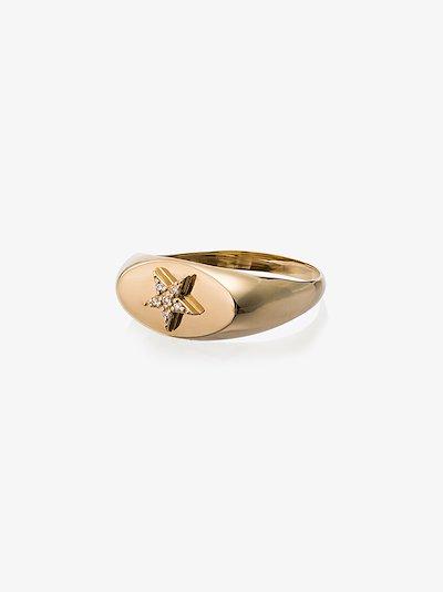 18K yellow gold star diamond embellished signet ring