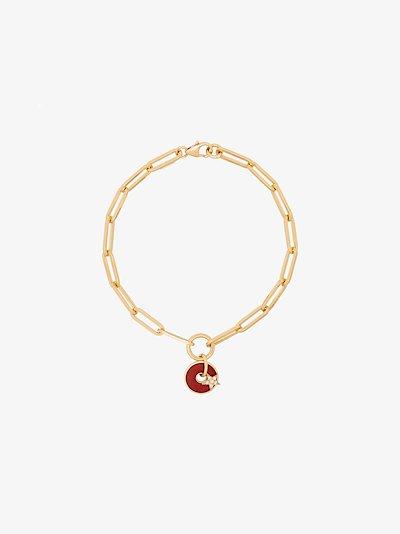 18K yellow gold star disk diamond bracelet