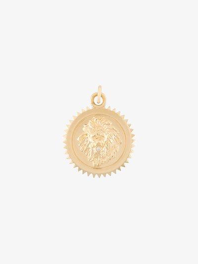 18K yellow gold Strength baby diamond medallion charm
