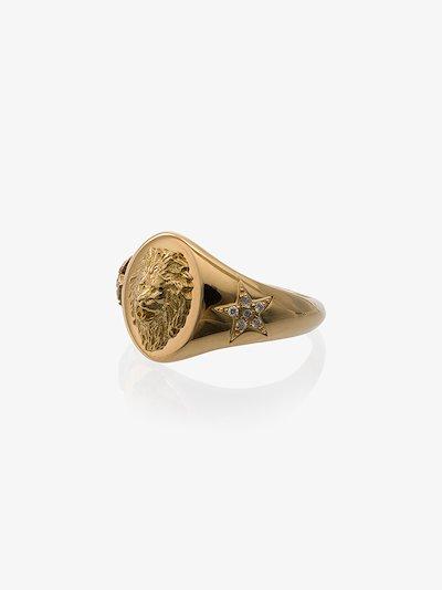 18K yellow gold strength diamond signet ring