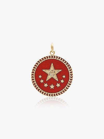 18K yellow gold Strength petite diamond medallion charm