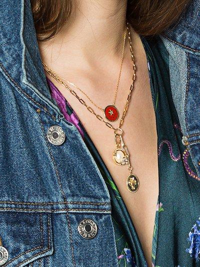 18K yellow gold Strength petite stationary chain diamond necklace