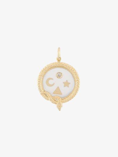 18K yellow gold Wholeness petite diamond medallion charm