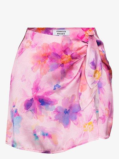 Dani floral print silk skirt