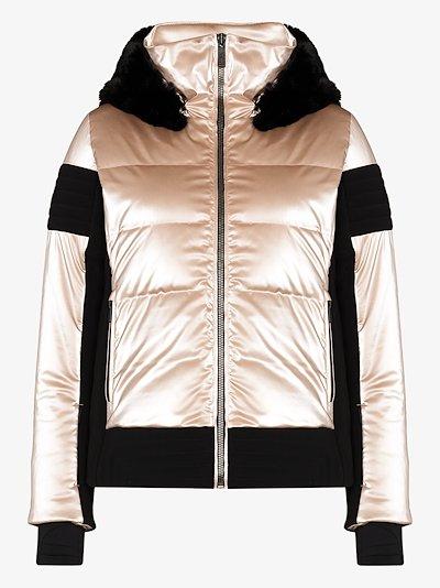 Gardena hooded metallic puffer jacket