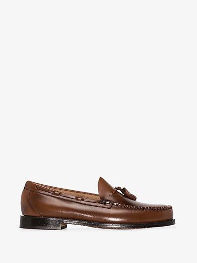 brown weejuns larkin tassel loafers