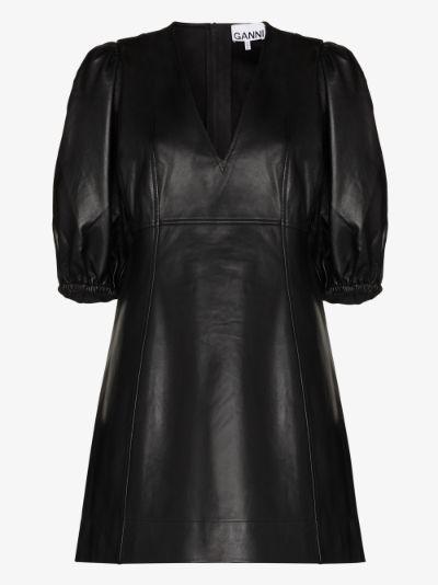 balloon sleeve leather mini dress