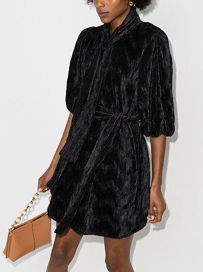 belted plissé mini dress