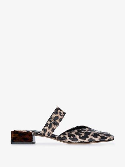 black and beige leopard jacquard mules