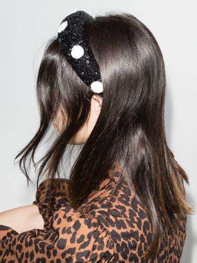 Black beaded polka dot headband