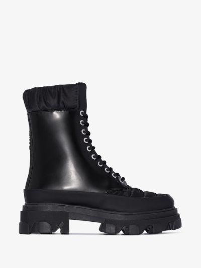 black chunky combat boots