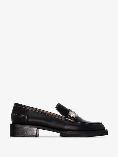 Black crystal embellished leather loafers