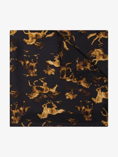 black horse print silk scarf