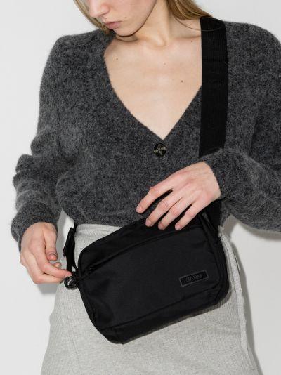 black logo patch cross body bag