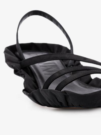 Black ruffled edge sandals