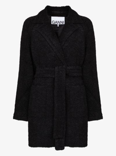 bouclé wool wrap coat