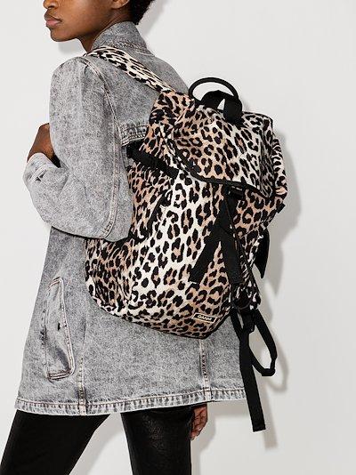 Brown Leopard Print Backpack