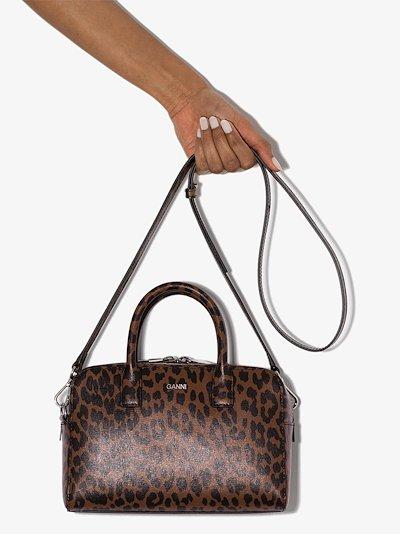 brown leopard print leather top handle bag