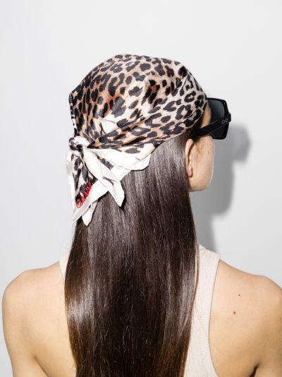 Brown leopard print silk scarf