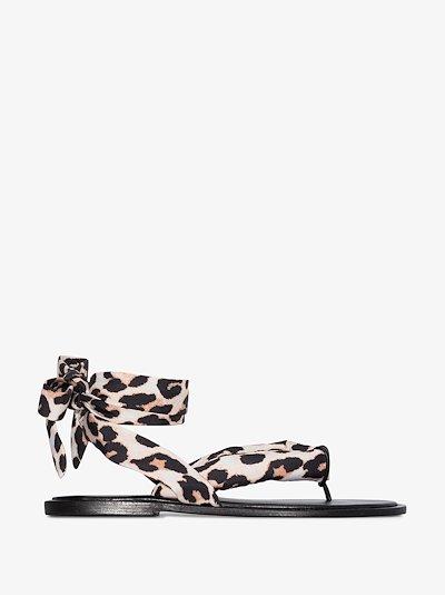 brown leopard print wrap sandals