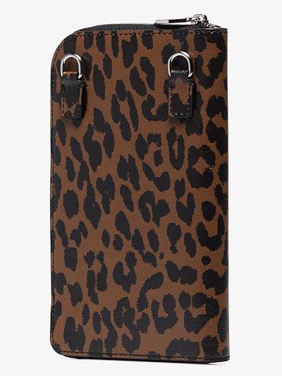 browns leopard print zip-around wallet