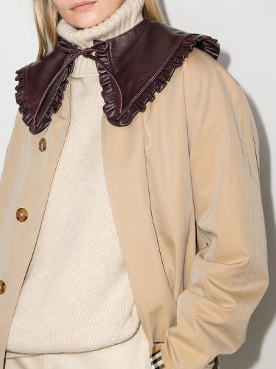 burgundy ruffled leather collar