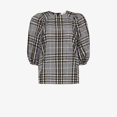 check print seersucker blouse