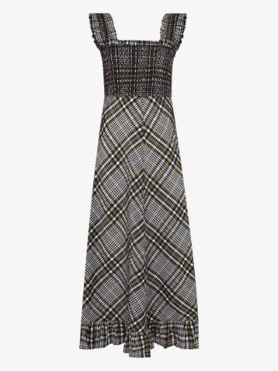 check print seersucker midi dress