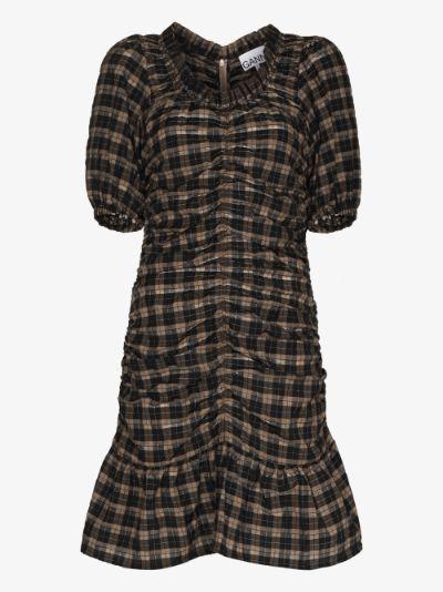 check print seersucker mini dress