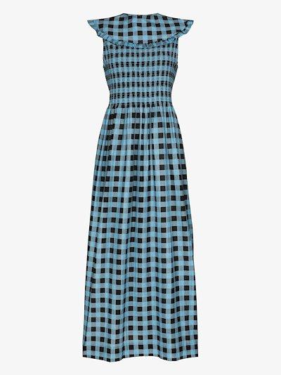 Checked ruffled collar dress