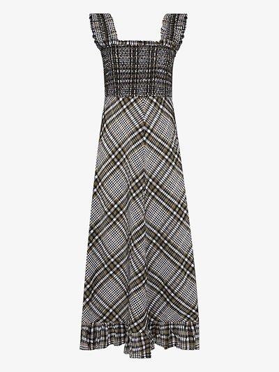 checked seersucker midi dress