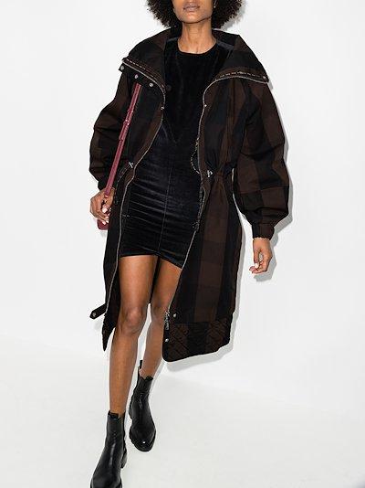 checked zip-up parka coat