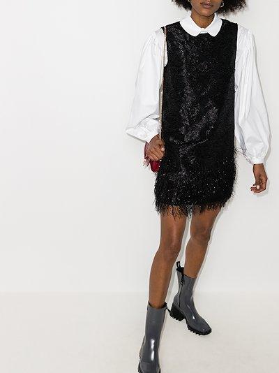 Feathered sleeveless mini dress