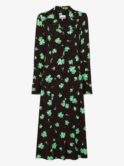 floral print midi shirt dress