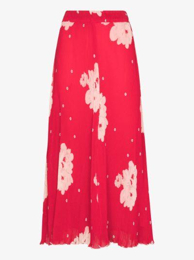 floral print plissé pleated skirt