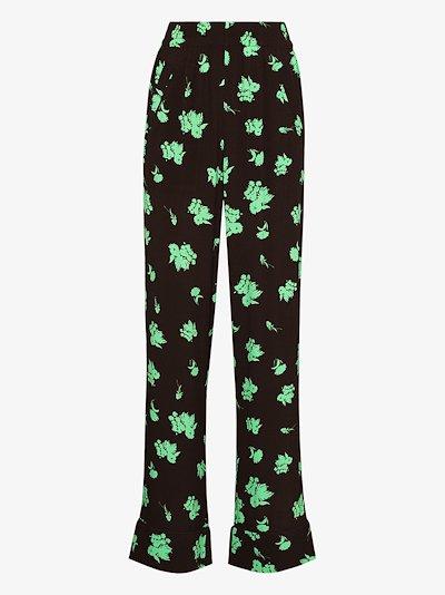floral print slim leg trousers