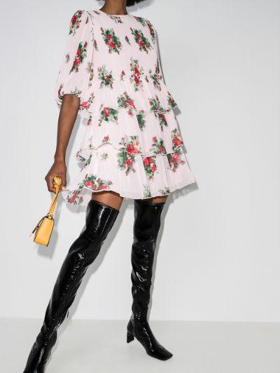 floral print tiered mini dress