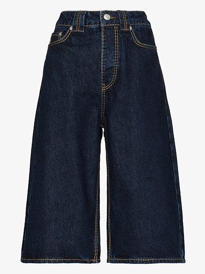 heavy stitch long denim shorts