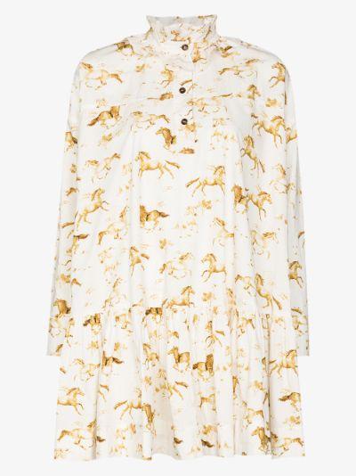 Horse print flared dress