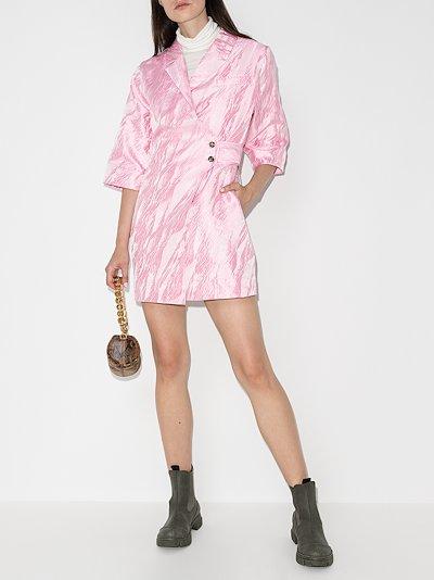 jacquard wrap front mini dress