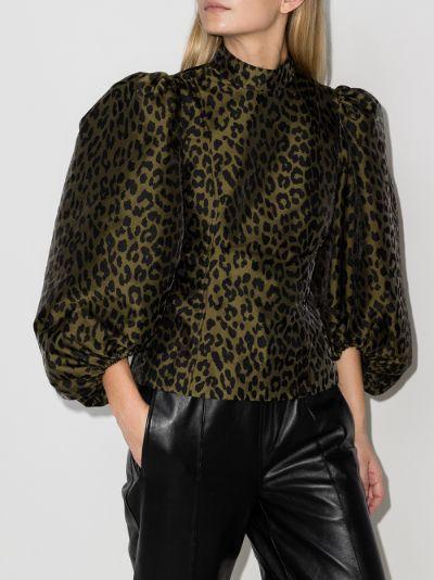 leopard jacquard puff sleeve blouse
