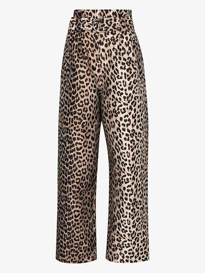 leopard jacquard trousers